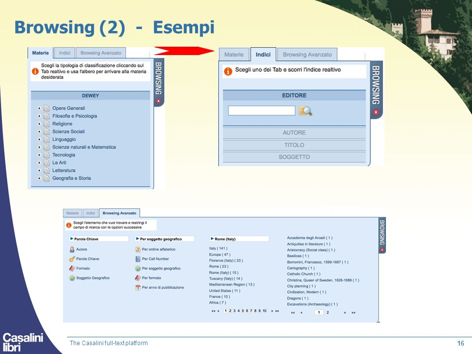 Browsing (2) - Esempi The Casalini full-text platform