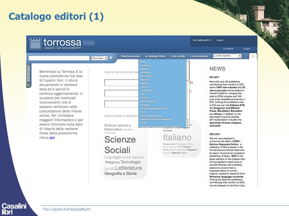 Catalogo editori (1) The Casalini full-text platform