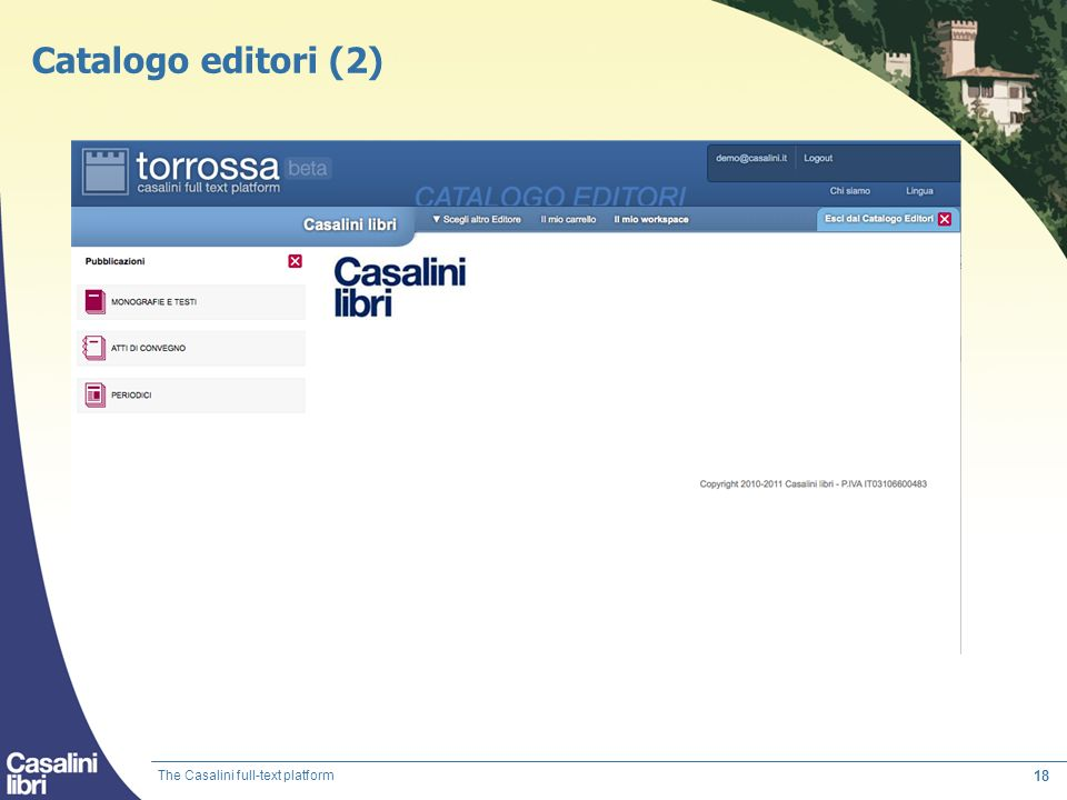 Catalogo editori (2) The Casalini full-text platform
