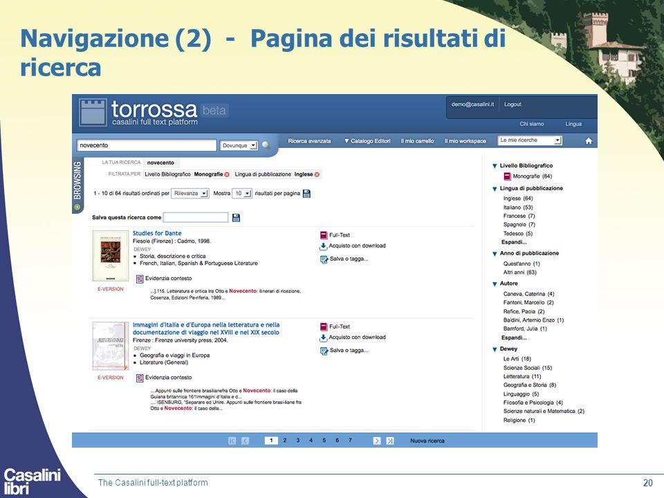 Navigazione (2) - Pagina dei risultati di ricerca