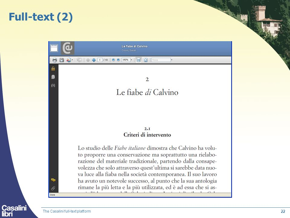 Full-text (2) The Casalini full-text platform