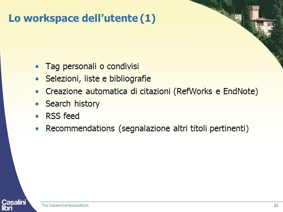 Lo workspace dell'utente (1)