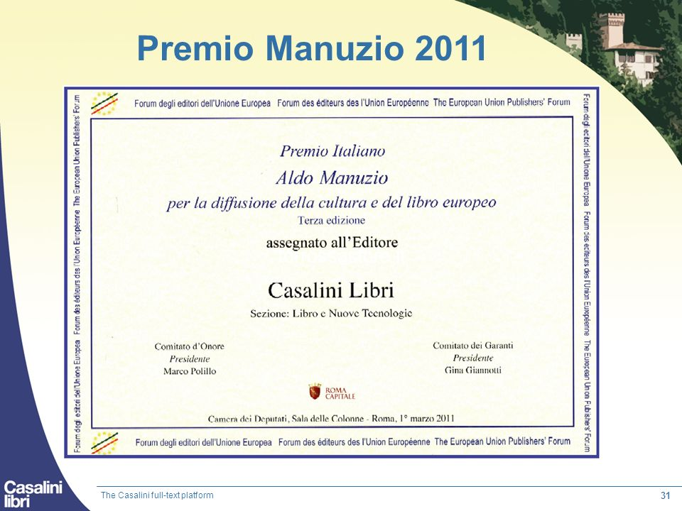 Premio Manuzio 2011 torrossastore.it The Casalini full-text platform