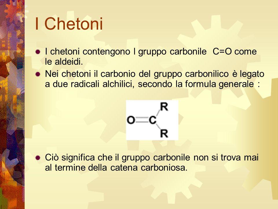 I Chetoni I chetoni contengono l gruppo carbonile C=O come le aldeidi.
