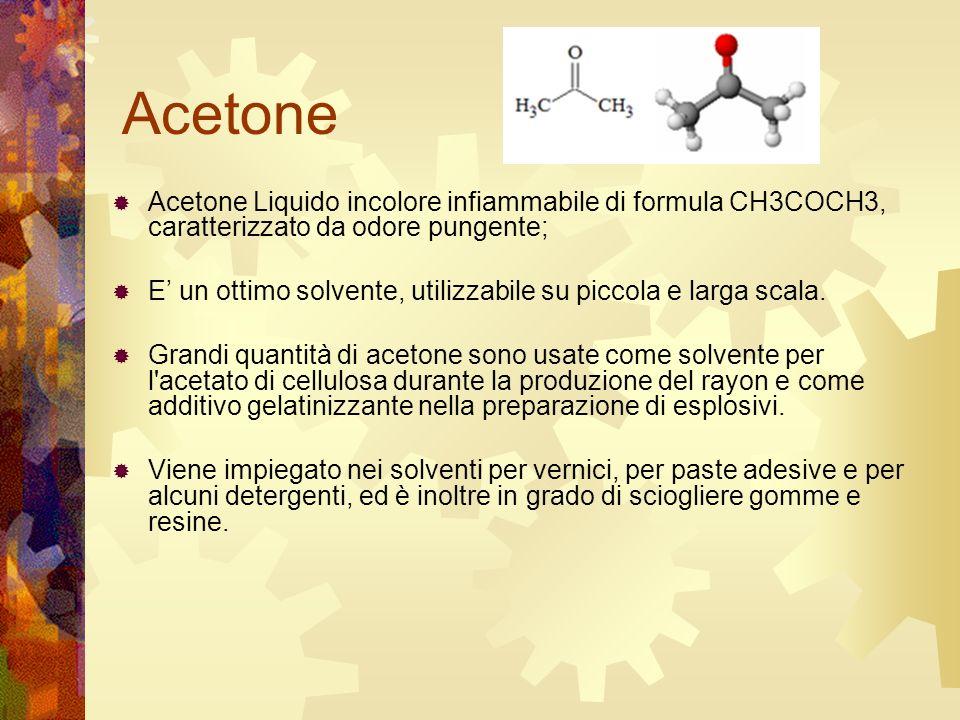 Acetone Acetone Liquido incolore infiammabile di formula CH3COCH3, caratterizzato da odore pungente;