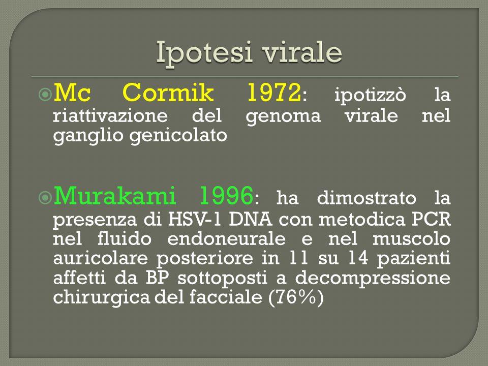 Ipotesi virale Mc Cormik 1972: ipotizzò la riattivazione del genoma virale nel ganglio genicolato.