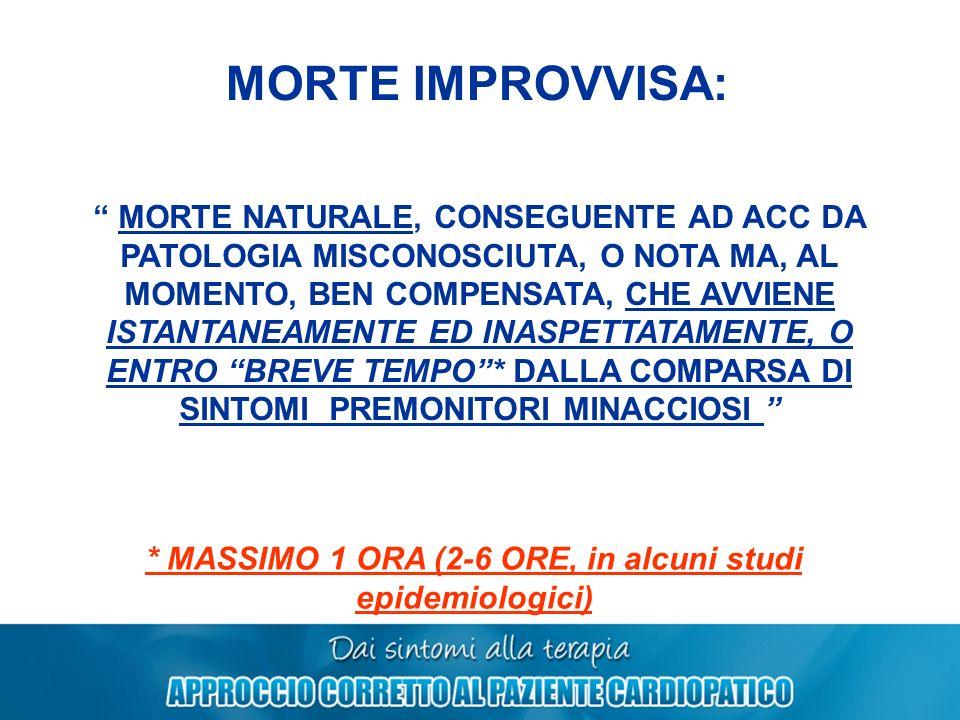 * MASSIMO 1 ORA (2-6 ORE, in alcuni studi epidemiologici)