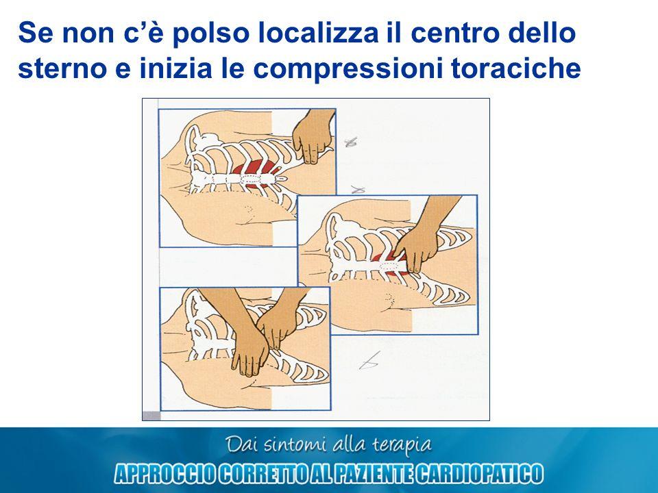 Se non c'è polso localizza il centro dello sterno e inizia le compressioni toraciche