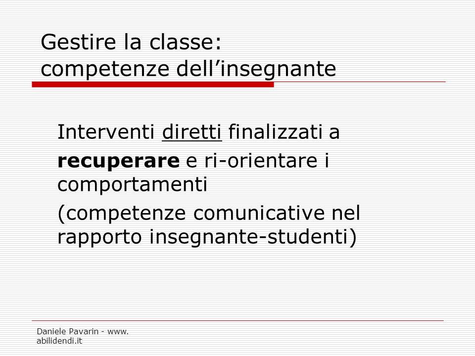 Gestire la classe: competenze dell'insegnante