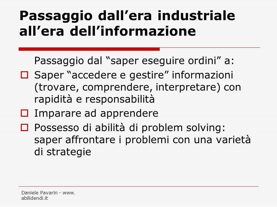 Passaggio dall'era industriale all'era dell'informazione