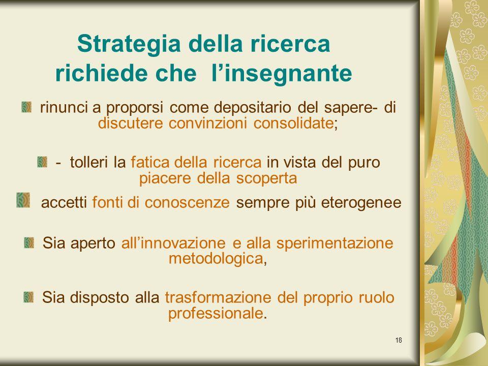 Strategia della ricerca richiede che l'insegnante
