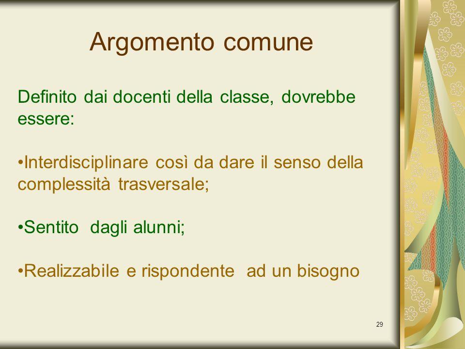 Argomento comune Definito dai docenti della classe, dovrebbe essere: