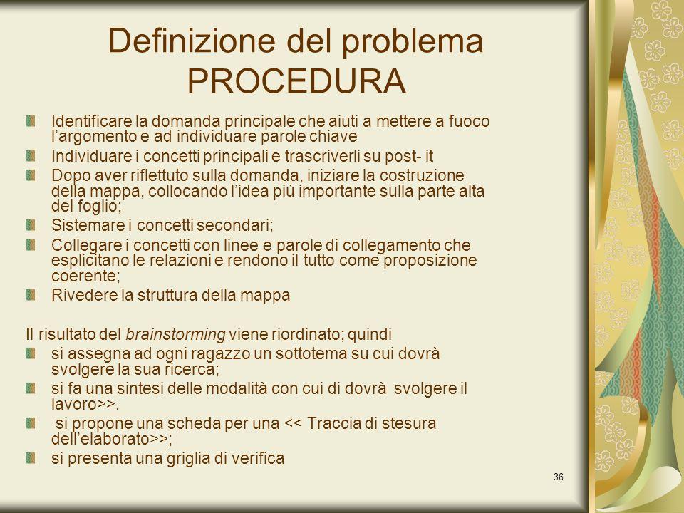 Definizione del problema PROCEDURA