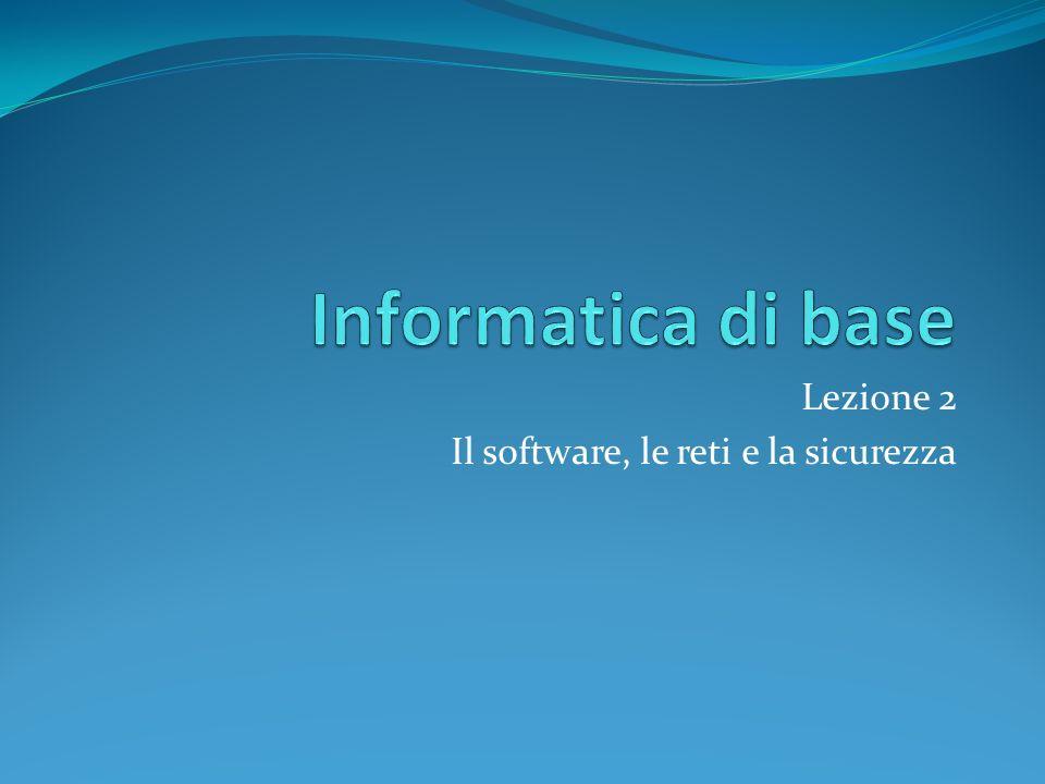 Lezione 2 Il software, le reti e la sicurezza