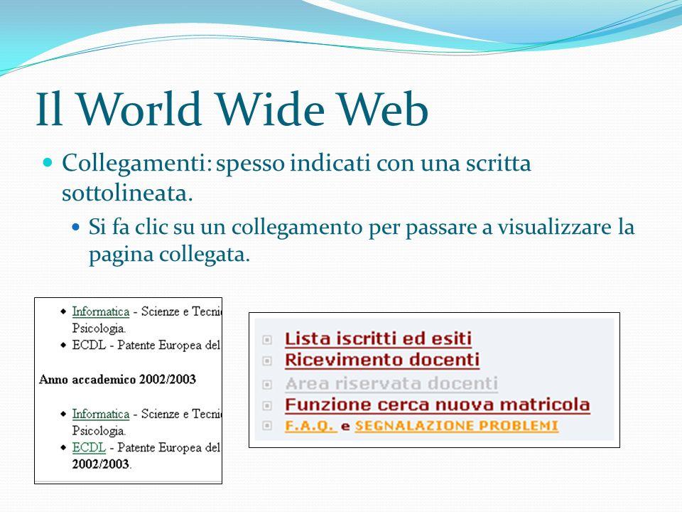 Il World Wide Web Collegamenti: spesso indicati con una scritta sottolineata.