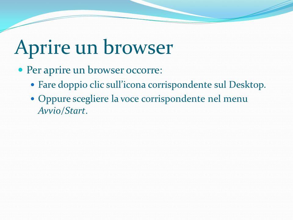 Aprire un browser Per aprire un browser occorre: