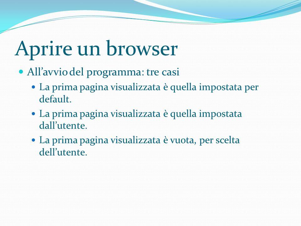 Aprire un browser All'avvio del programma: tre casi