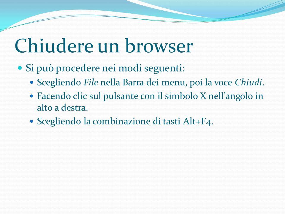 Chiudere un browser Si può procedere nei modi seguenti: