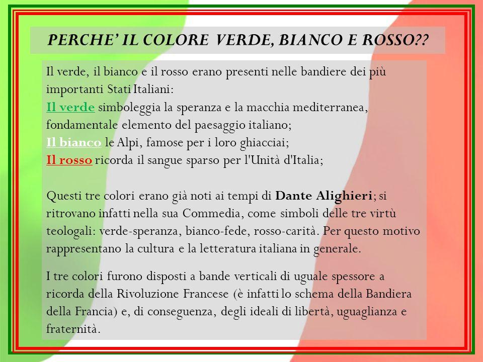 PERCHE' IL COLORE VERDE, BIANCO E ROSSO