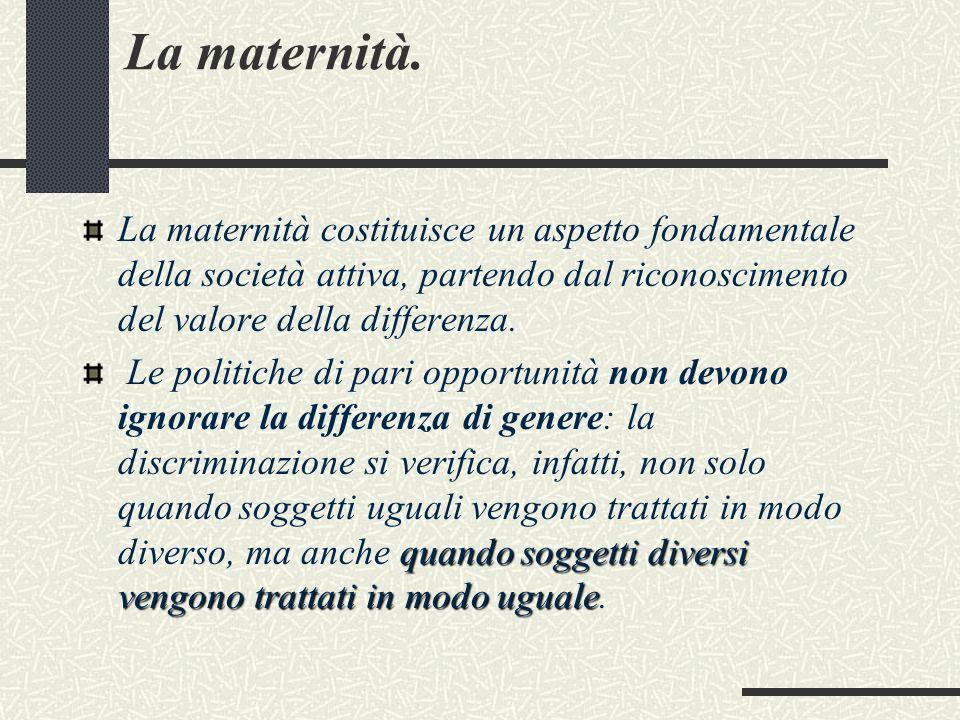 La maternità. La maternità costituisce un aspetto fondamentale della società attiva, partendo dal riconoscimento del valore della differenza.