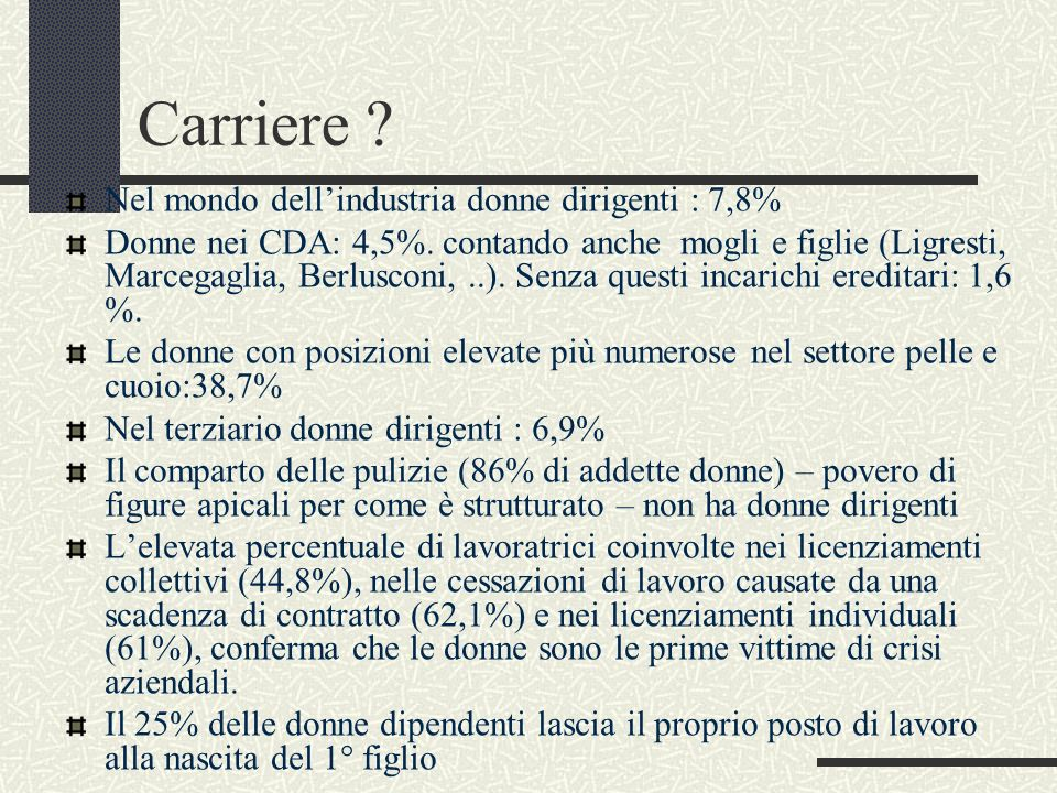 Carriere Nel mondo dell'industria donne dirigenti : 7,8%
