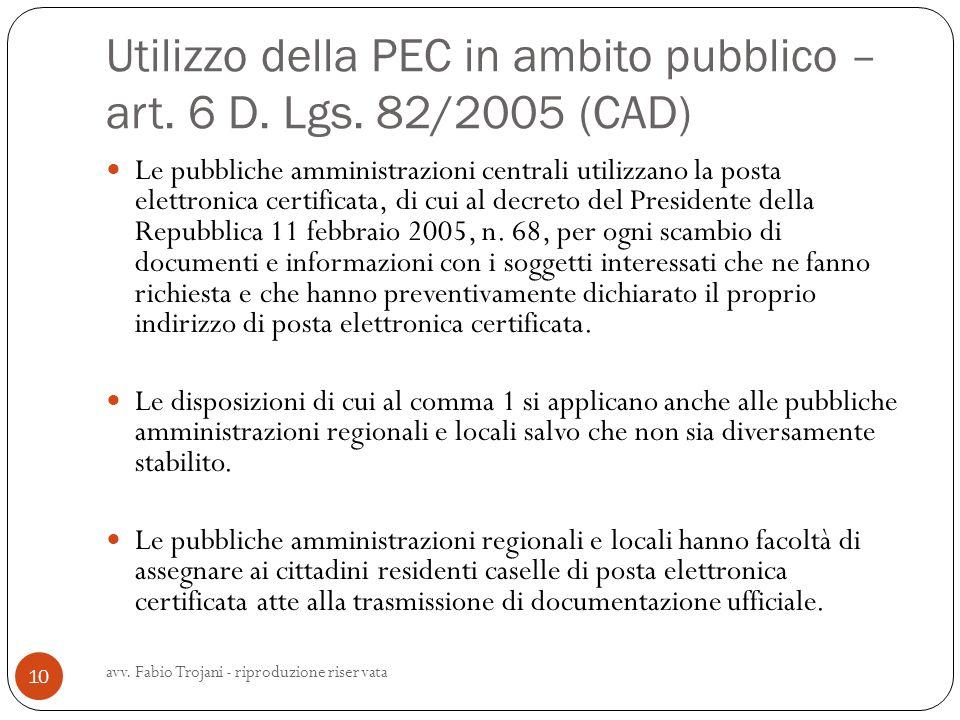 Utilizzo della PEC in ambito pubblico – art. 6 D. Lgs. 82/2005 (CAD)