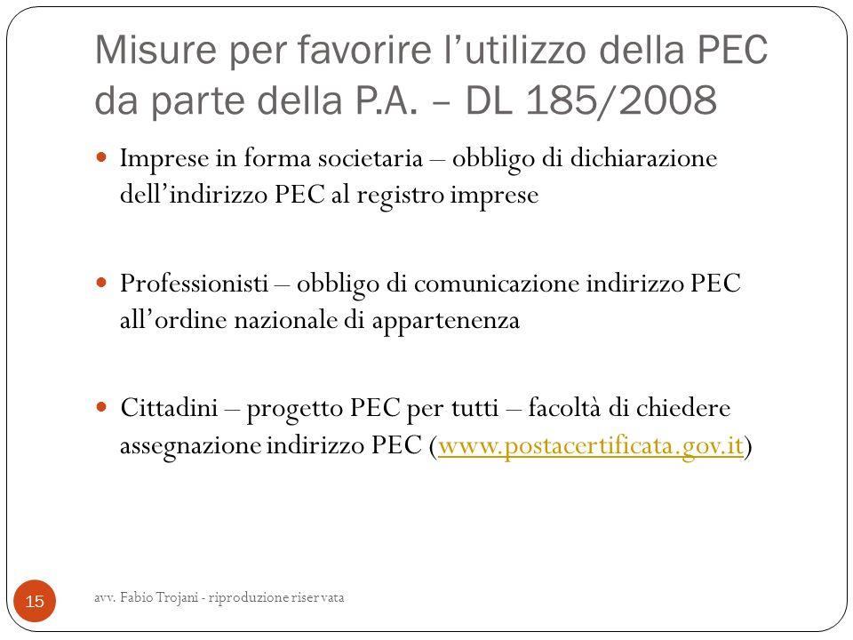 Misure per favorire l'utilizzo della PEC da parte della P. A