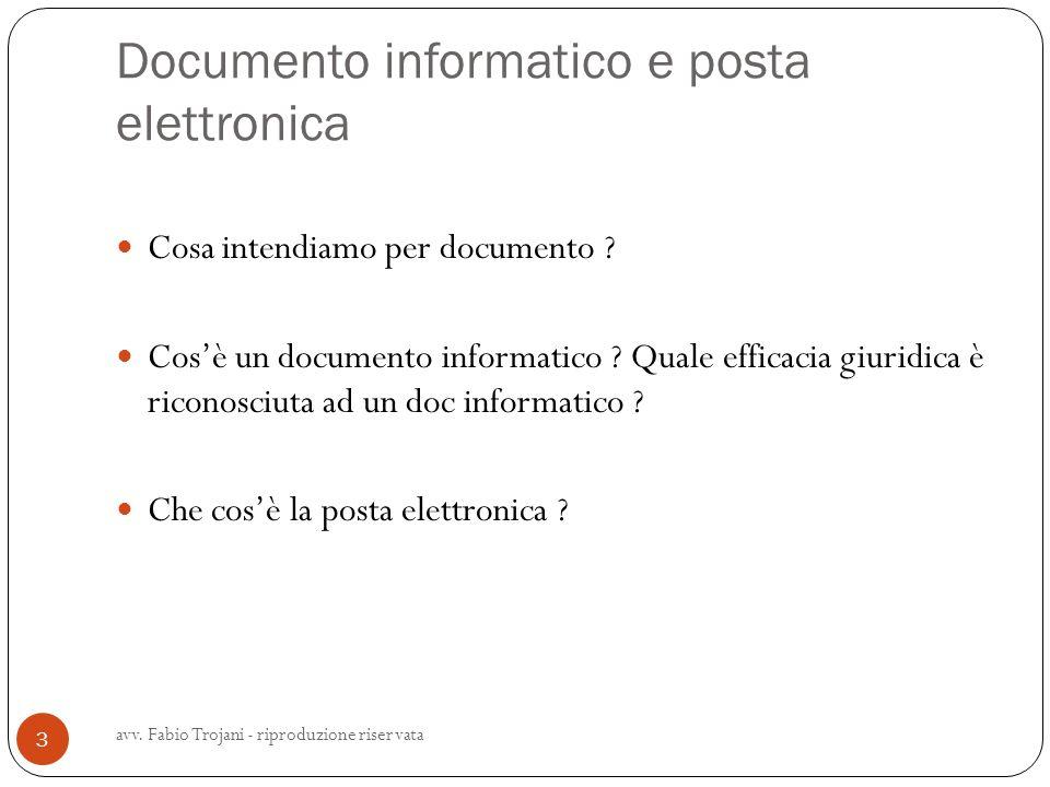 Documento informatico e posta elettronica