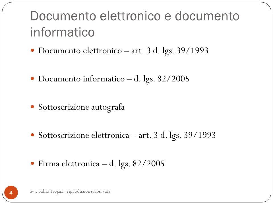 Documento elettronico e documento informatico