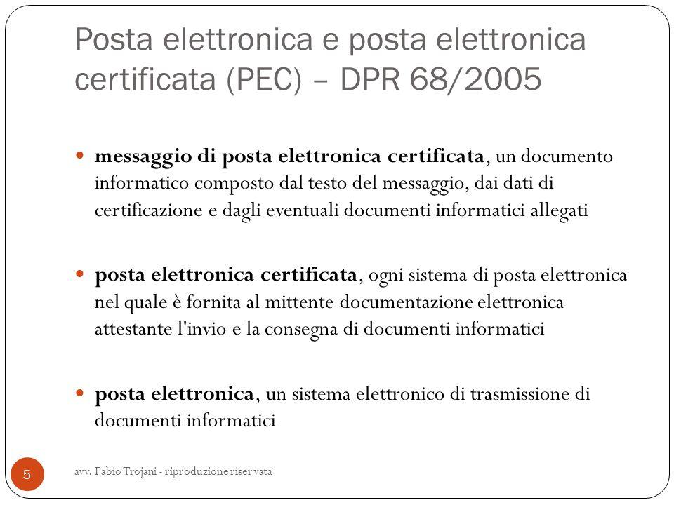 Posta elettronica e posta elettronica certificata (PEC) – DPR 68/2005