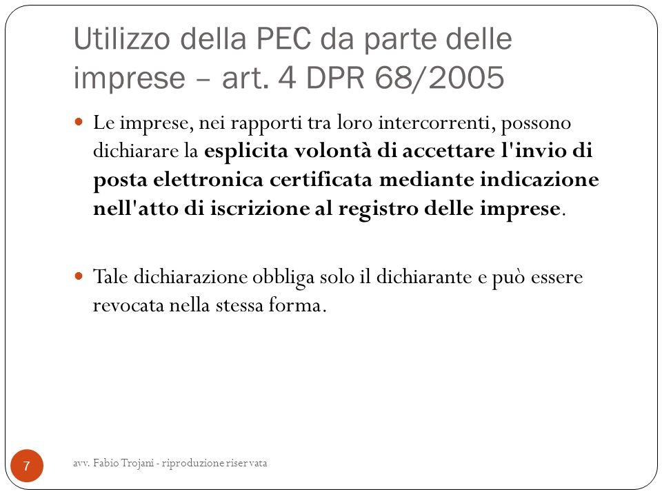 Utilizzo della PEC da parte delle imprese – art. 4 DPR 68/2005