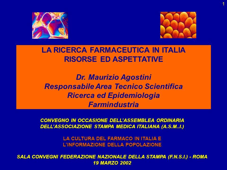 LA RICERCA FARMACEUTICA IN ITALIA RISORSE ED ASPETTATIVE Dr