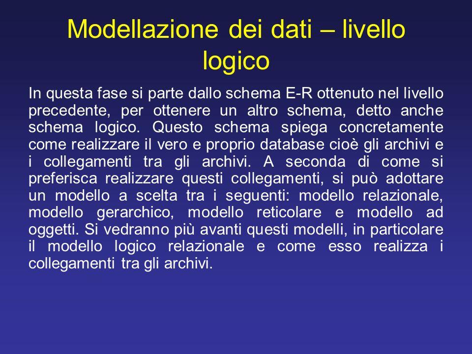Modellazione dei dati – livello logico