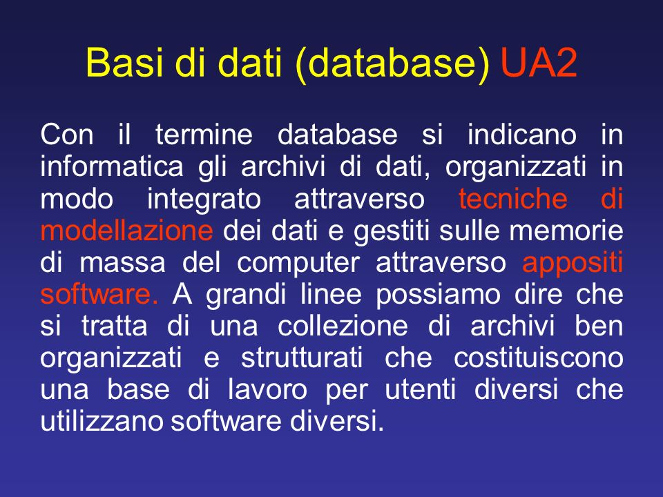 Basi di dati (database) UA2