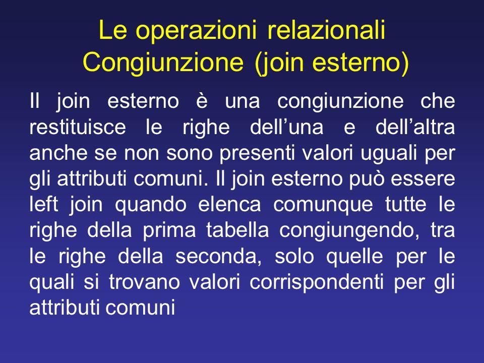 Le operazioni relazionali Congiunzione (join esterno)