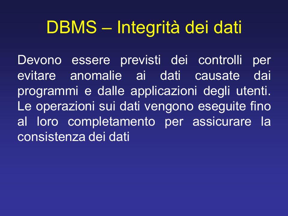 DBMS – Integrità dei dati