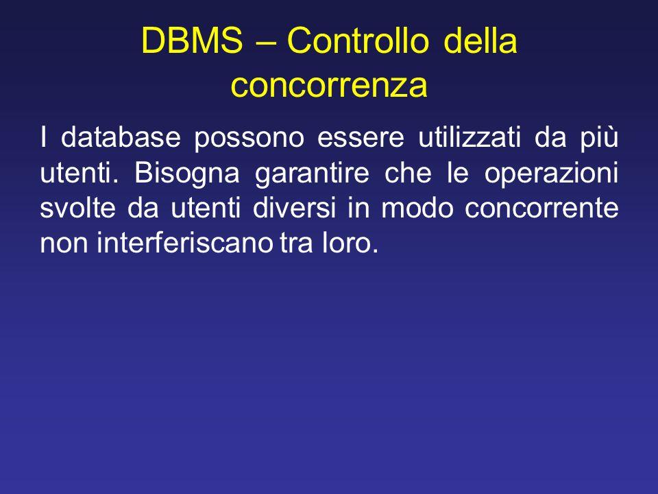 DBMS – Controllo della concorrenza