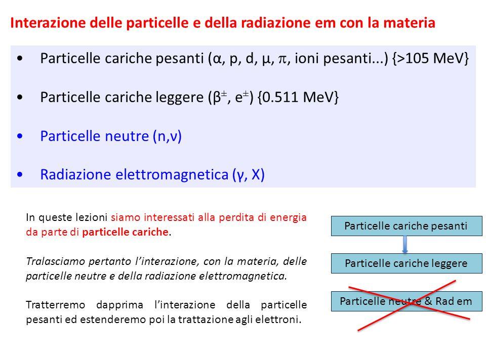 Interazione delle particelle e della radiazione em con la materia