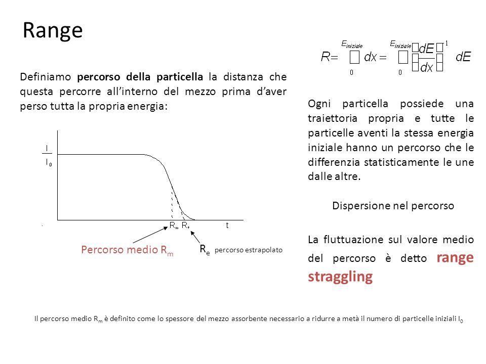 Range Definiamo percorso della particella la distanza che questa percorre all'interno del mezzo prima d'aver perso tutta la propria energia: