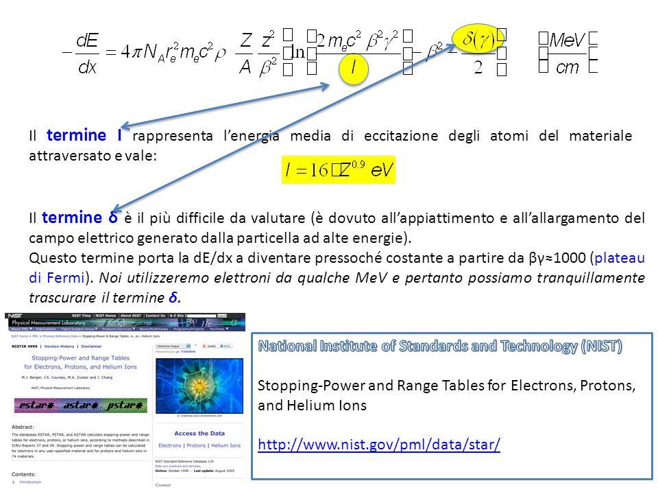 Il termine I rappresenta l'energia media di eccitazione degli atomi del materiale attraversato e vale: