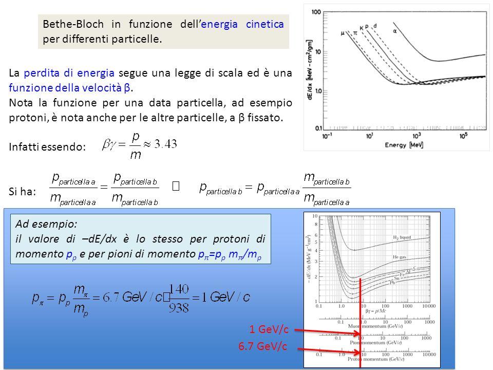 Bethe-Bloch in funzione dell'energia cinetica per differenti particelle.
