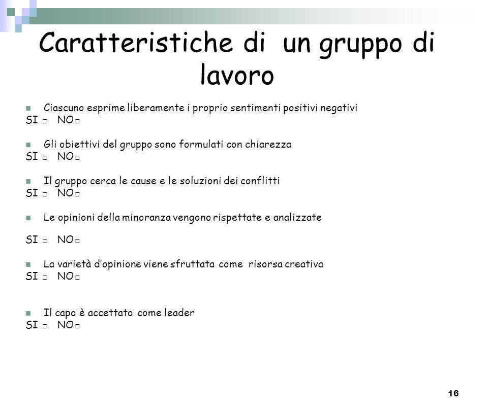 Caratteristiche di un gruppo di lavoro