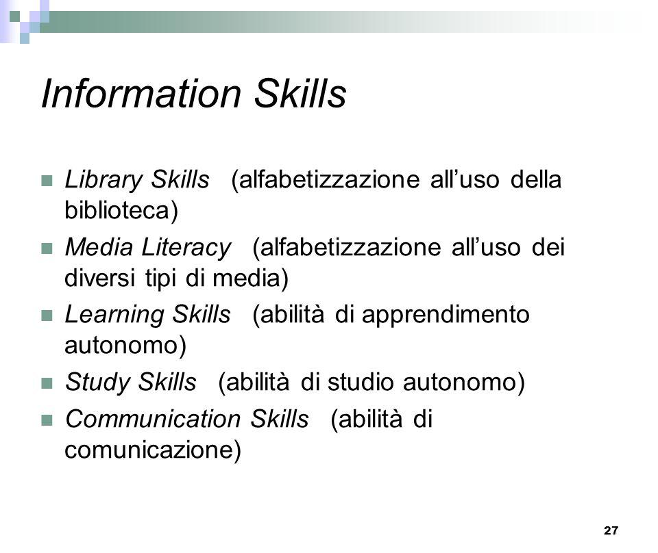 Information Skills Library Skills (alfabetizzazione all'uso della biblioteca)