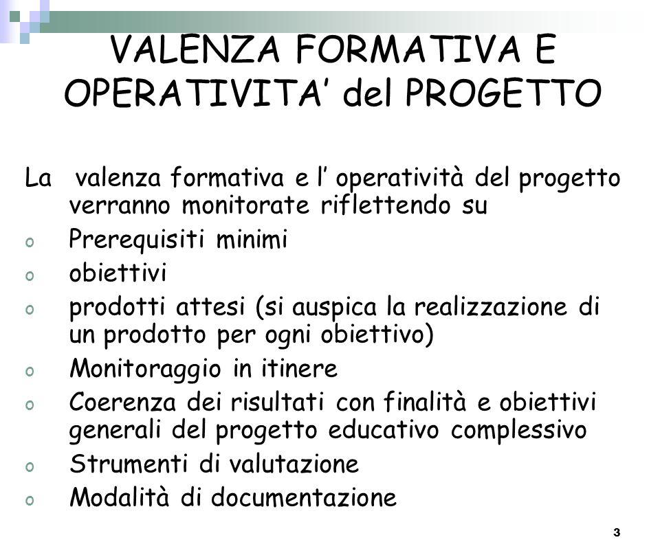 VALENZA FORMATIVA E OPERATIVITA' del PROGETTO