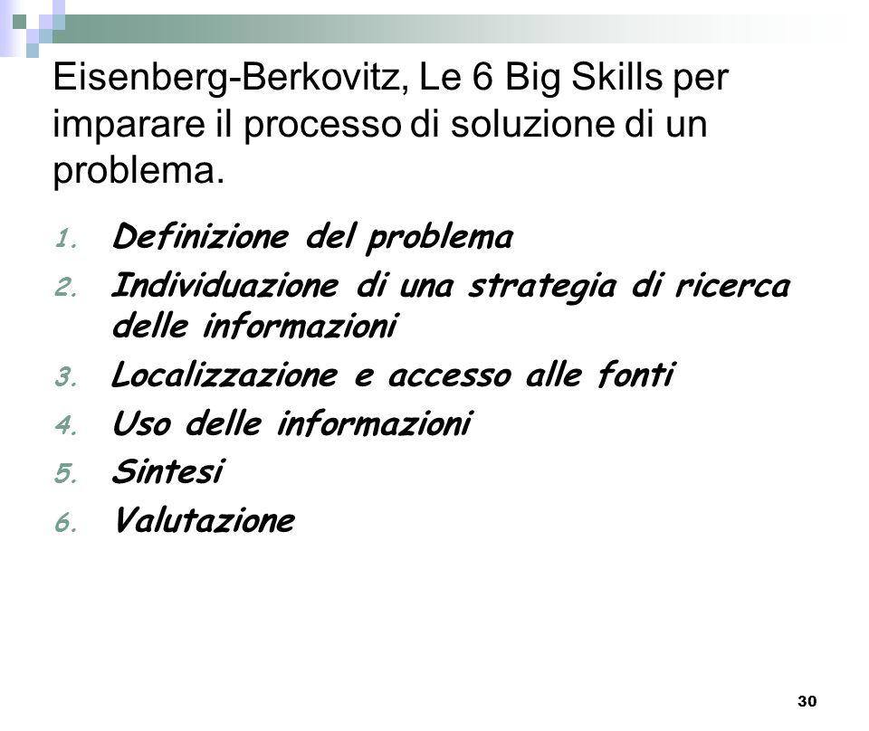 Eisenberg-Berkovitz, Le 6 Big Skills per imparare il processo di soluzione di un problema.