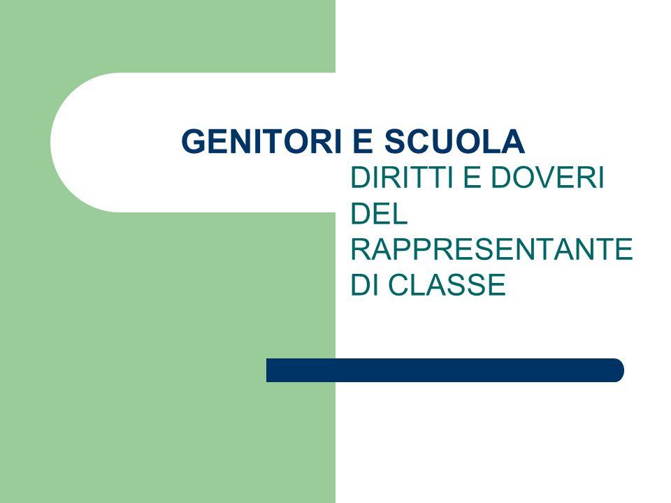 DIRITTI E DOVERI DEL RAPPRESENTANTE DI CLASSE