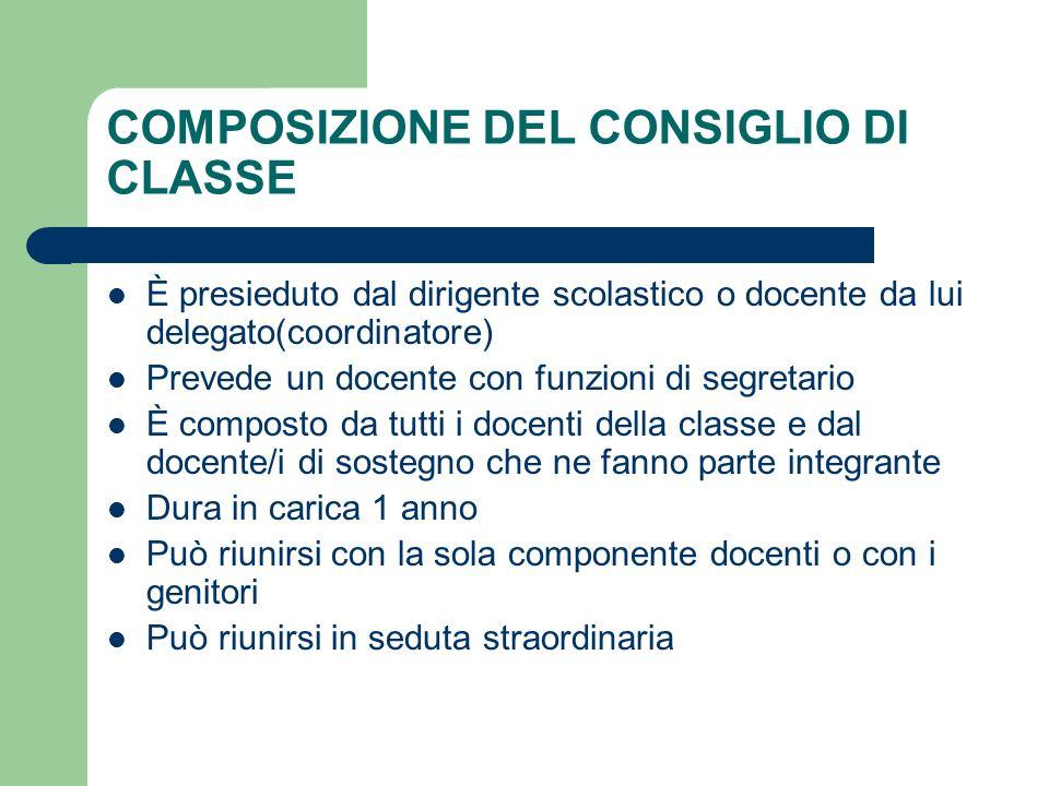 COMPOSIZIONE DEL CONSIGLIO DI CLASSE