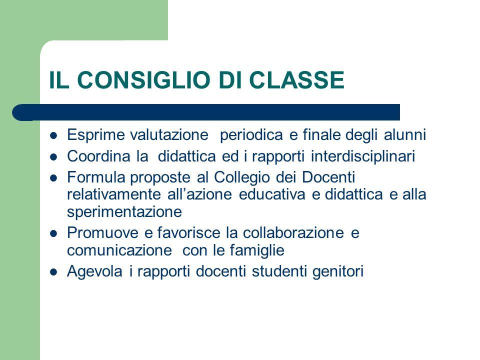 IL CONSIGLIO DI CLASSE Esprime valutazione periodica e finale degli alunni. Coordina la didattica ed i rapporti interdisciplinari.