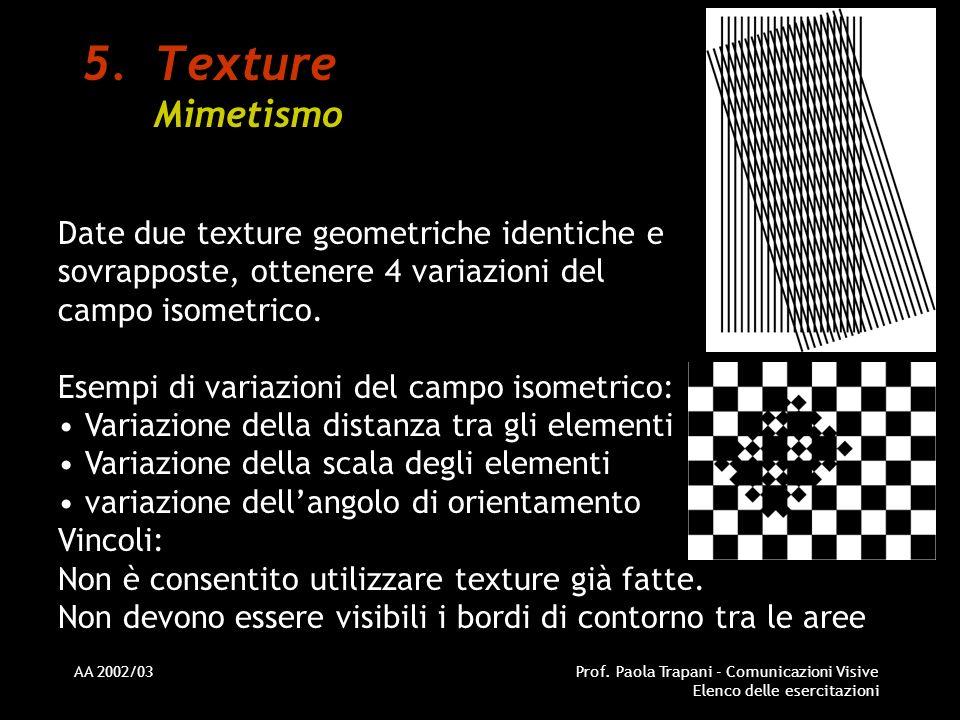 Texture Mimetismo Date due texture geometriche identiche e sovrapposte, ottenere 4 variazioni del campo isometrico.