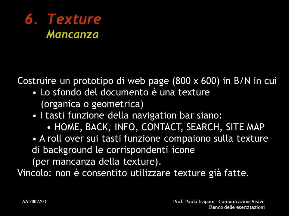 Texture Mancanza Costruire un prototipo di web page (800 x 600) in B/N in cui. Lo sfondo del documento è una texture (organica o geometrica)